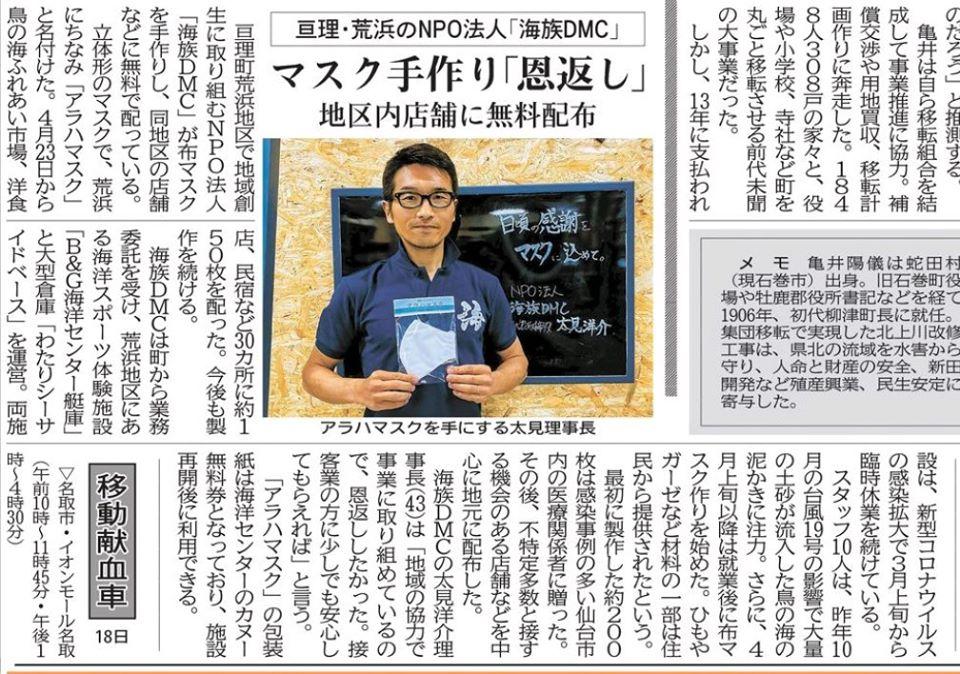 河北新報への掲載